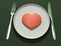 Heart on plate. 3d render of red heart on plate vector illustration