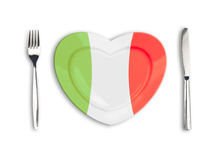Heart plate colored in Italian national colors Royalty Free Stock Photography