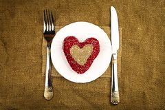 Heart on the plate royalty free stock photos