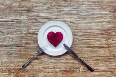 Heart on the plate Royalty Free Stock Photo