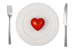 Heart on plate Stock Photos