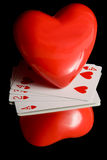 Heart and Playing Cards Royalty Free Stock Photography