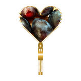 Heart with plums. Heart shape made of golden zip, filled with plums texture Stock Photo