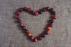 Heart of plums Stock Image