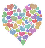 Heart of a plurality of fabric hearts. Royalty Free Stock Photo