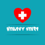 A heart with a plus sign on a blue background with text Healthy Stock Photos