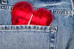 Heart in pocket Royalty Free Stock Photography