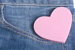 Heart in the Pocket of Denim Blue Jean Pants Royalty Free Stock Image