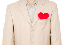 The heart is in the pocket of the suit Stock Photography
