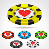Heart poker chip isometric set 3D object  Stock Image