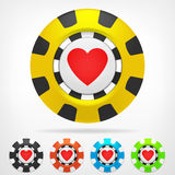 Heart poker chip set 3D object  Royalty Free Stock Photography