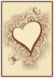 Heart poker vintage playing card Royalty Free Stock Photo