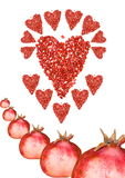 Heart of pomegranate Stock Photo