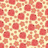 Heart of pomegranate fruit and flowers.Seamless pa. Halves of pomegranate fruit  in heart shaped and Flowers on the blue background. Cartoon  ornament,Retro Royalty Free Stock Photography