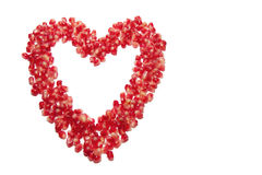 Heart  of pomegranate grains Stock Photography