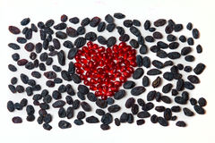 Heart from pomegranate and raisins. Valentines day Stock Image