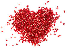 Heart from pomegranate  seeds. Pomegranate seed In the form of heart Royalty Free Stock Image