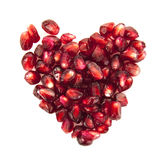 Heart of pomegranate seeds Stock Photography
