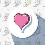 Heart pop art over background banana patch design. Vector illustration royalty free illustration