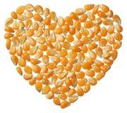 Heart of Popcorn kernels isolated on white background Royalty Free Stock Photos