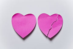 Heart post it. Heart posti it broken heart Royalty Free Stock Photography