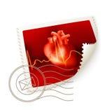 Heart, postage stamp. Movie clap, icon illustration on white Royalty Free Stock Photo