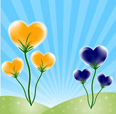 Heart postcard. Flower background with colorful heart, star, and wave pattern, element for design, vector illustration Royalty Free Stock Images
