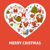 2018 heart poster of cartoon Santa, snowman and dog. Celebrating New Year winter holiday with Christmas decorations for greeting card design template. Vector Stock Photography