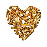 Heart of Potato French Fries. Love Delicious Fried Potatoes Fast Food. Street Junk Food Lover Poster. Hand Drawn Vector Illustrati. On. Savoyar Doodle Style Royalty Free Stock Images