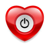 Heart with powe button Stock Photography