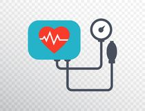 Heart pressure icon in flat style. Arterial blood pressure checking concept. Blood pressure meter isolated on transparent backgrou stock illustration