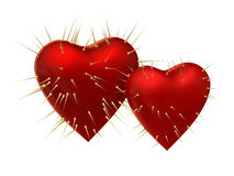 Heart with prickles. Two red hearts with prickles on white background Royalty Free Stock Photography