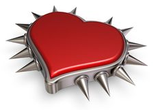 Heart with prickles. Heart symbol with prickles on white background - 3d rendering Royalty Free Stock Images