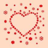 Heart of primitive, decorative flowers. royalty free illustration