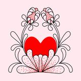 Heart of primitive, decorative flowers. vector illustration
