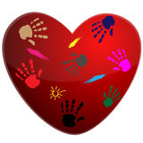 Heart and print Stock Image