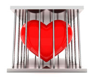 Heart in a prison. Red heart shape in a  iron prison Royalty Free Stock Photo
