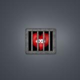 Heart prison. Sad cartoon heart behind prison window - 3d illustration Stock Photos