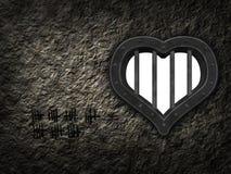 Heart prison window. In stone wound - 3d illustration Stock Photo