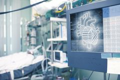 Heart projection on the patient monitor as a concept of futurist. Ic technology in health Stock Photo