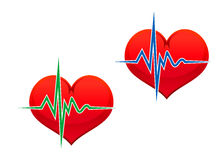 Heart with pulse Royalty Free Stock Images