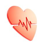 Heart pulse beat and health issues glossy red emblem icon Stock Photography