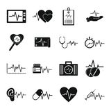 Heart pulse beat icons set, simple style. Heart pulse beat icons set. Simple illustration of 25 heart pulse beat vector icons for web Royalty Free Stock Images