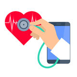 Heart pulse examination by phone. Telemedicine and telehealth. Royalty Free Stock Images