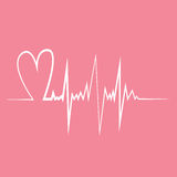 Heart pulse. Flat design vector illustration. Pink and white colors Stock Photography