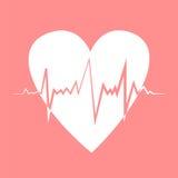 Heart pulse. Flat design vector illustration. Retro colors. Stock Image