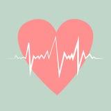 Heart pulse. Flat design vector illustration. Retro colors. Stock Photo