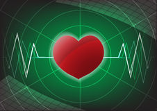 Heart and pulse on green background Stock Photography
