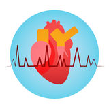 Heart Pulse Health World Day Global Holiday. Banner With Copy Space Flat Vector Illustration Royalty Free Stock Photo