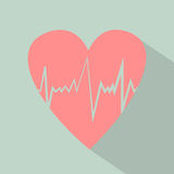 Heart pulse icon with shadow. Flat design vector illustration. Retro colors. Royalty Free Stock Image